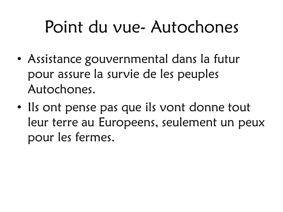 Point du vue- Autochones Assistance gouvernmental dans la futur pour assure la survie de les peuples Autochones. Ils ont pense pas que ils vont donne