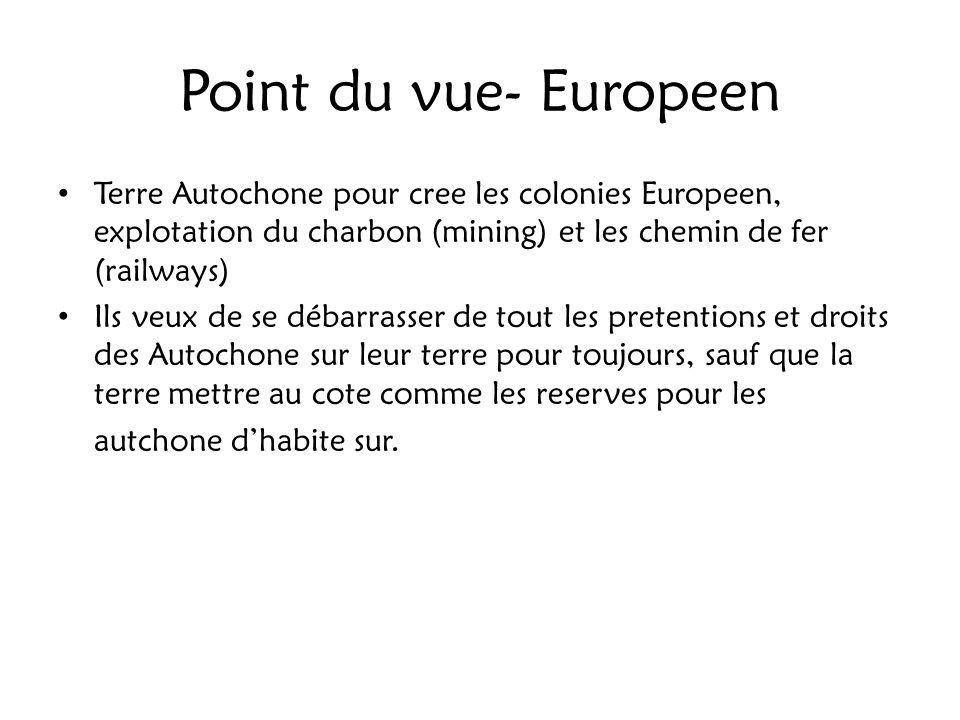Point du vue- Europeen Terre Autochone pour cree les colonies Europeen, explotation du charbon (mining) et les chemin de fer (railways) Ils veux de se