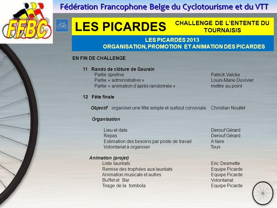 Fédération Francophone Belge du Cyclotourisme et du VTT EN FIN DE CHALLENGE 11 Rando de clôture de Gaurain Partie sportive Patrick Valcke Partie « adm