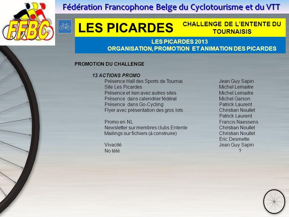 Fédération Francophone Belge du Cyclotourisme et du VTT PROMOTION DU CHALLENGE 13 ACTIONS PROMO Présence Hall des Sports de Tournai Jean Guy Sapin Sit