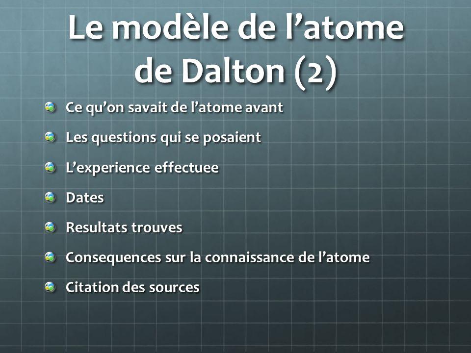 Le modèle de latome de Dalton (2) Ce quon savait de latome avant Les questions qui se posaient Lexperience effectuee Dates Resultats trouves Consequen