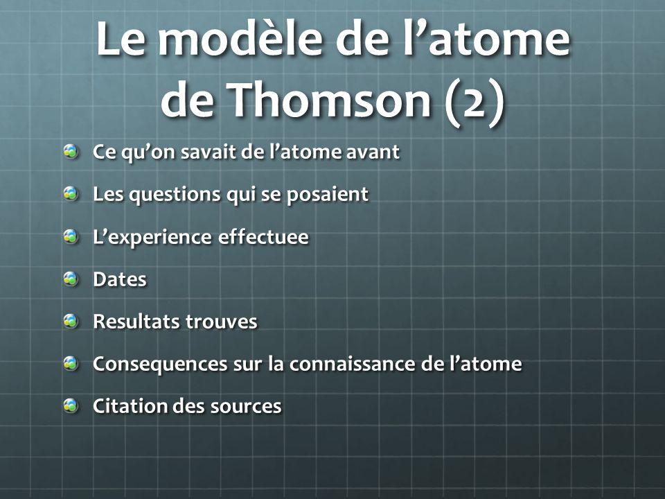 Le modèle de latome de Thomson (2) Ce quon savait de latome avant Les questions qui se posaient Lexperience effectuee Dates Resultats trouves Conseque