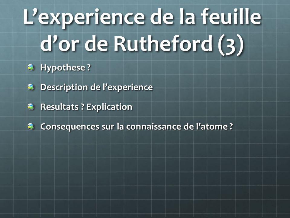 Lexperience de la feuille dor de Rutheford (3) Hypothese ? Description de lexperience Resultats ? Explication Consequences sur la connaissance de lato