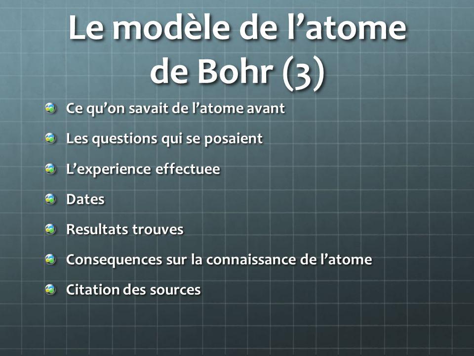 Le modèle de latome de Bohr (3) Ce quon savait de latome avant Les questions qui se posaient Lexperience effectuee Dates Resultats trouves Consequence