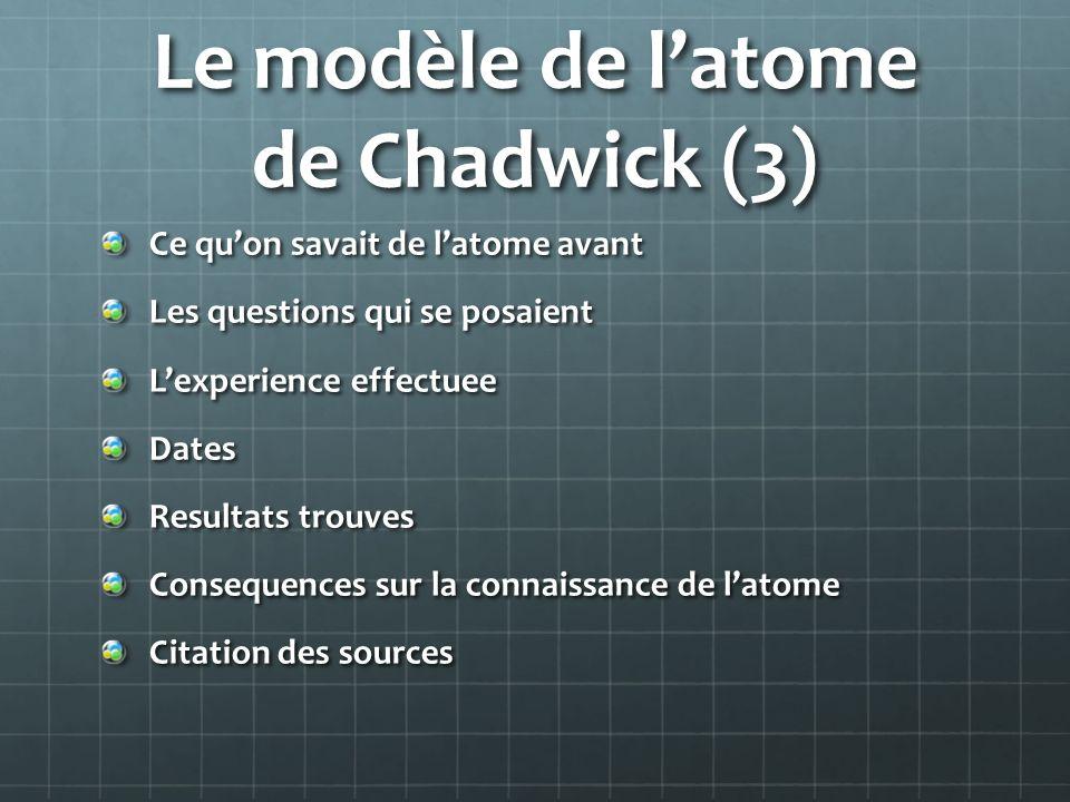 Le modèle de latome de Chadwick (3) Ce quon savait de latome avant Les questions qui se posaient Lexperience effectuee Dates Resultats trouves Consequ