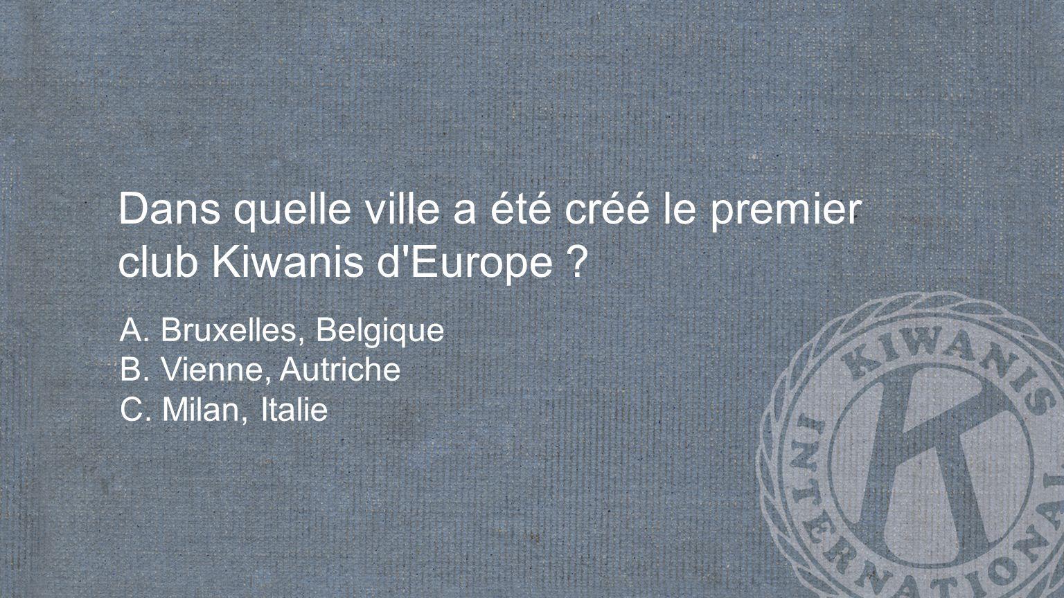 Dans quelle ville a été créé le premier club Kiwanis d Europe .