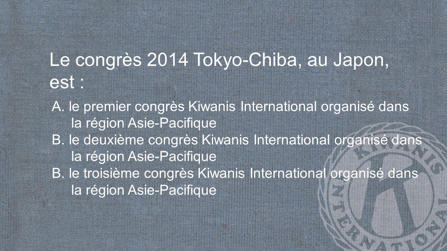 Le congrès 2014 Tokyo-Chiba, au Japon, est : A.