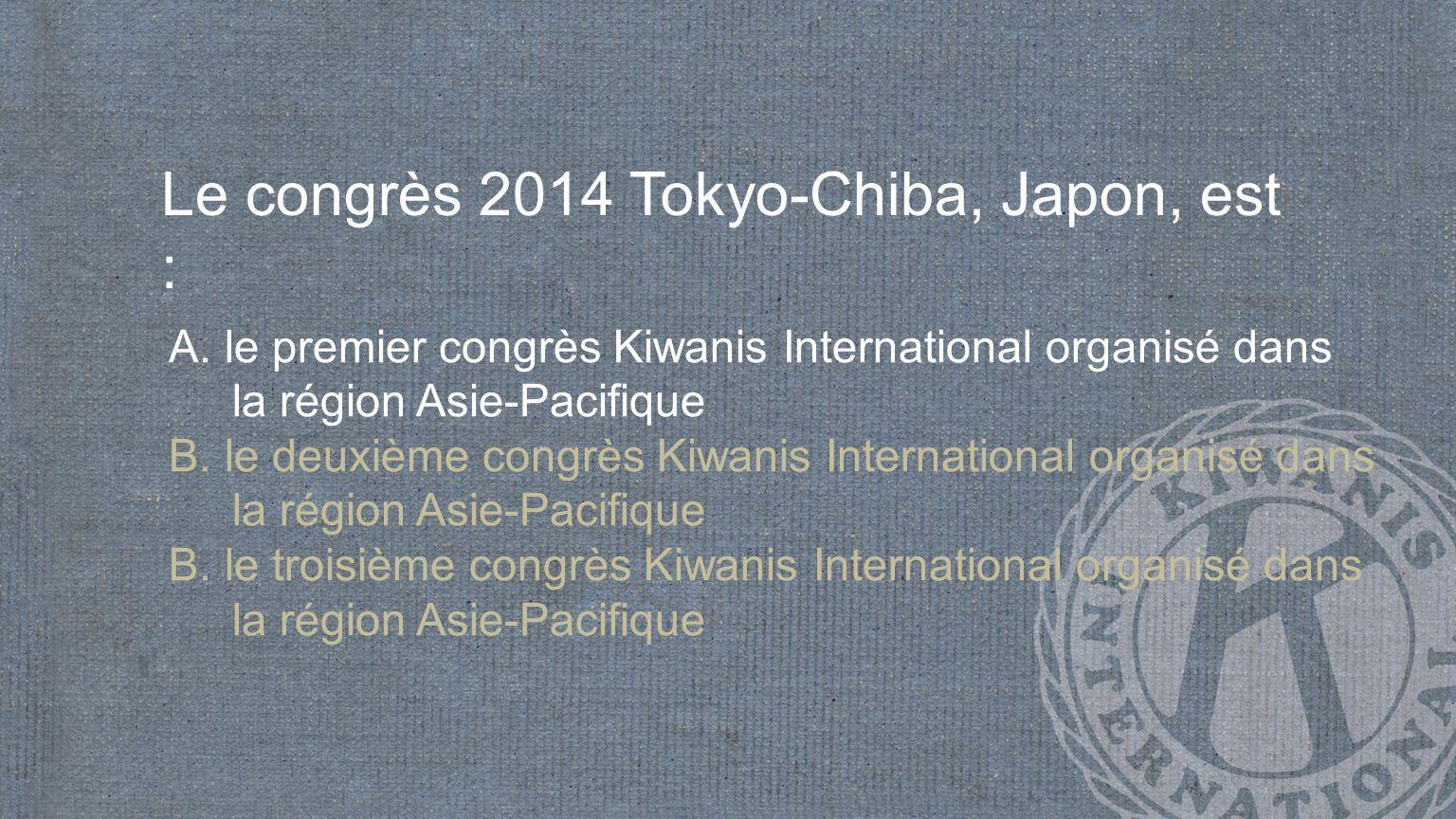 Le congrès 2014 Tokyo-Chiba, Japon, est : A.