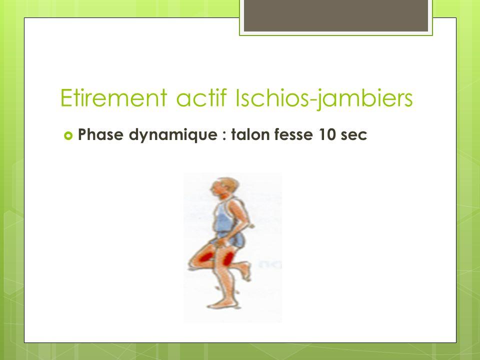 Etirement actif Ischios-jambiers Phase dynamique : talon fesse 10 sec