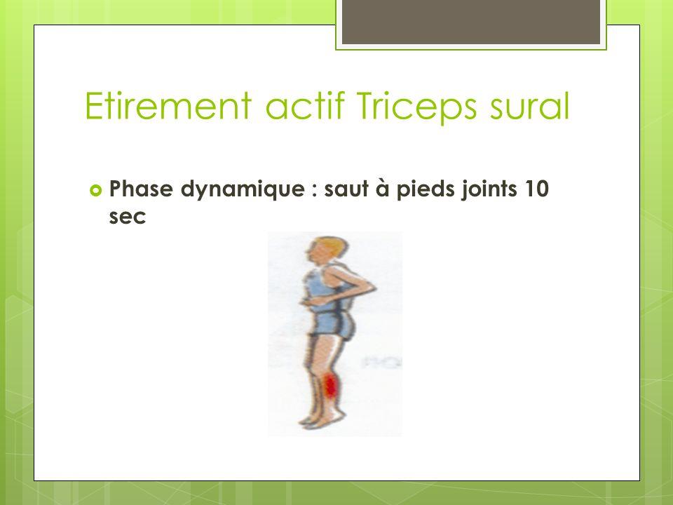Etirement actif Triceps sural Phase dynamique : saut à pieds joints 10 sec