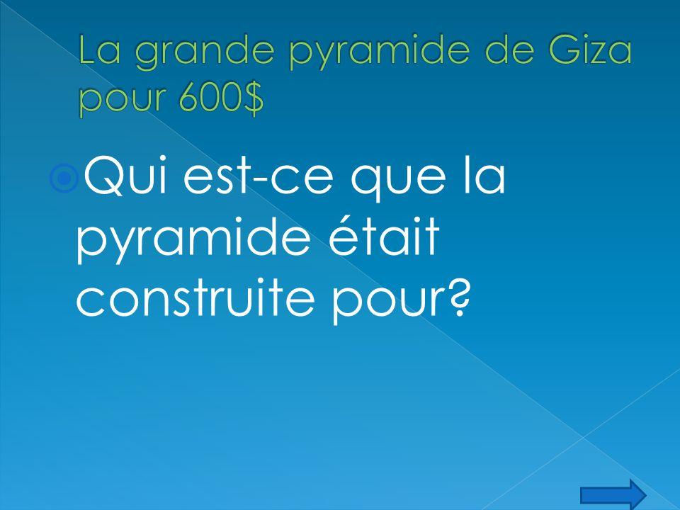 Qui est-ce que la pyramide était construite pour?