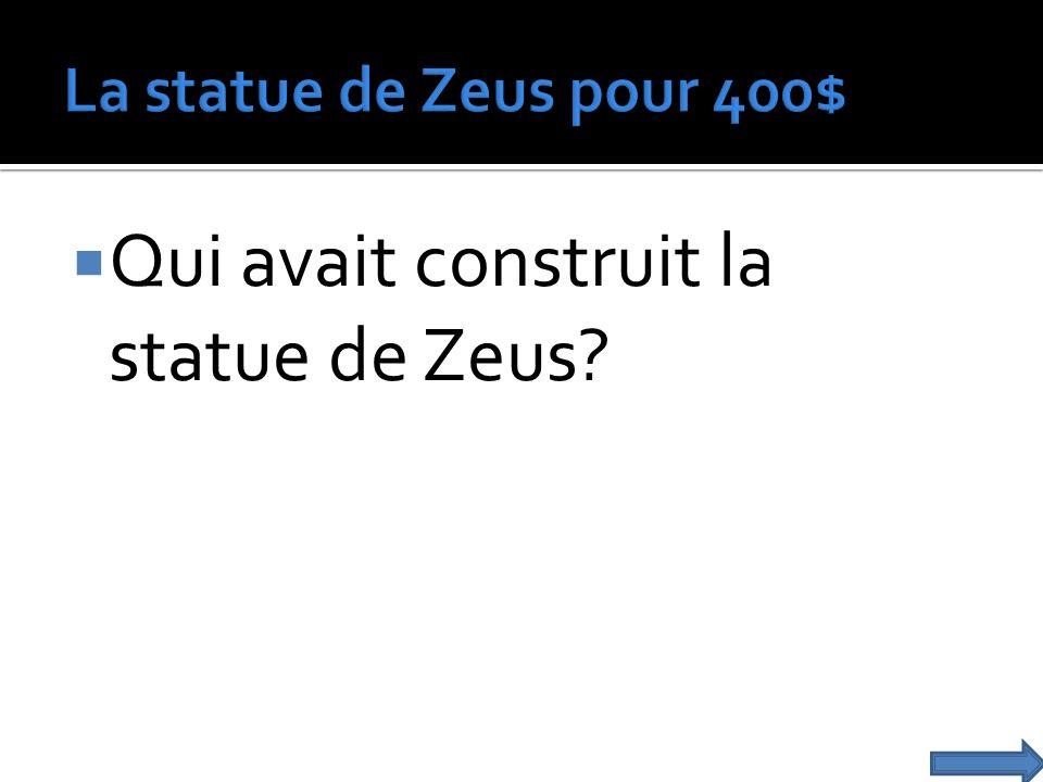 Qui avait construit la statue de Zeus?