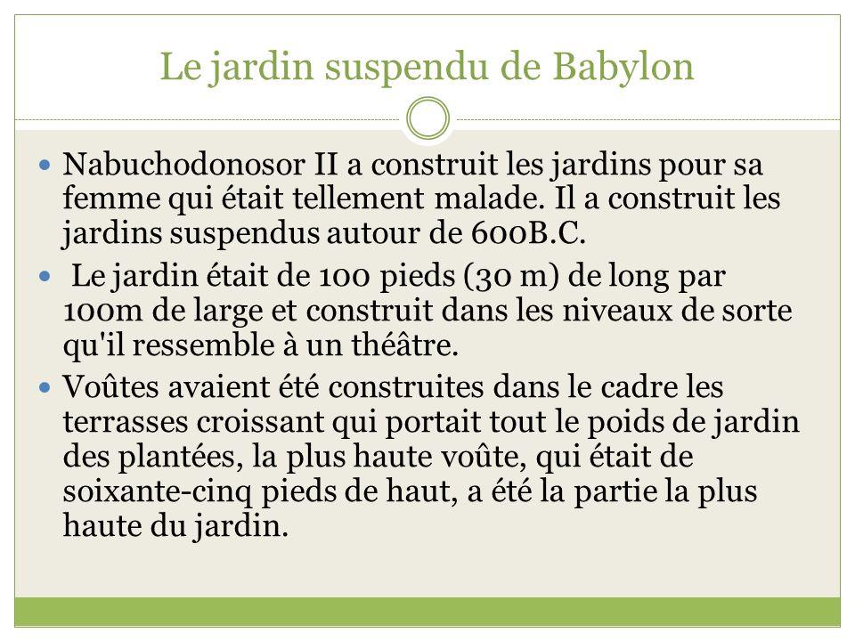 Le jardin suspendu de Babylon Nabuchodonosor II a construit les jardins pour sa femme qui était tellement malade. Il a construit les jardins suspendus