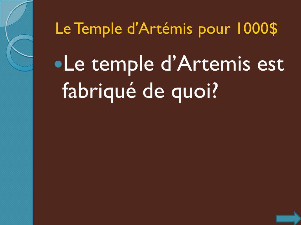 Le Temple d'Artémis pour 1000$ Le Temple d'Artémis pour 1000$ Le temple dArtemis est fabriqué de quoi?