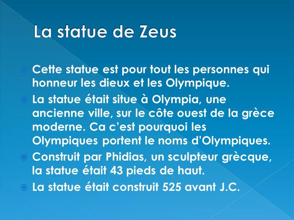 Cette statue est pour tout les personnes qui honneur les dieux et les Olympique. La statue était situe à Olympia, une ancienne ville, sur le côte oues