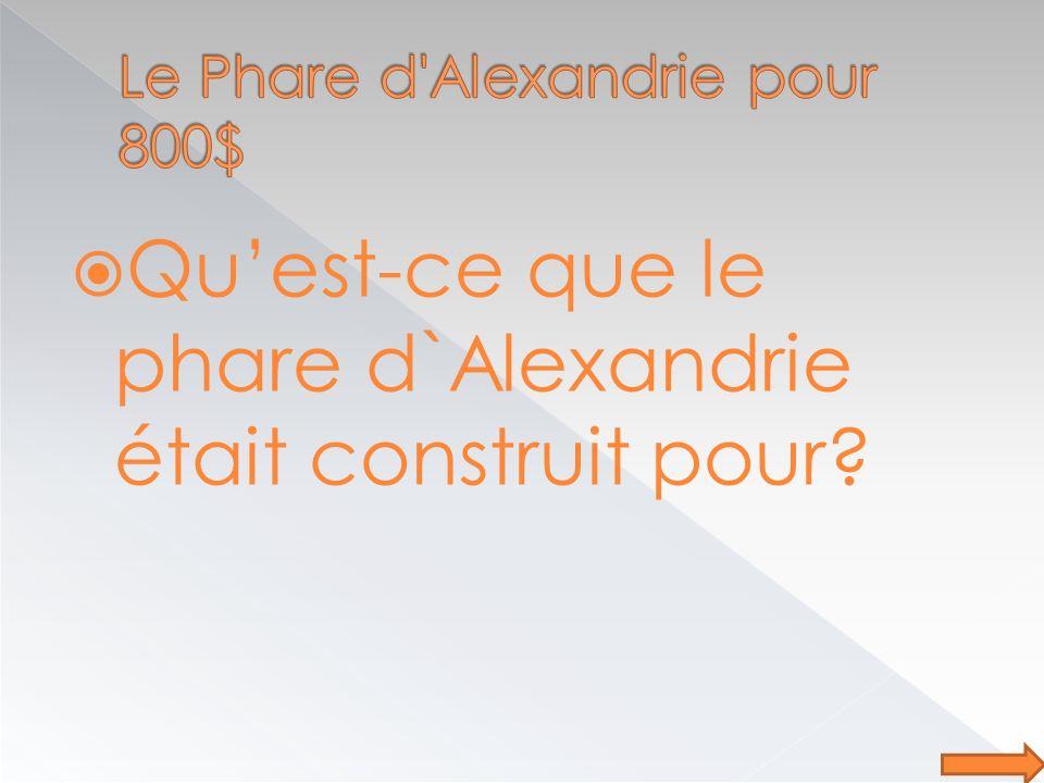 Quest-ce que le phare d`Alexandrie était construit pour?