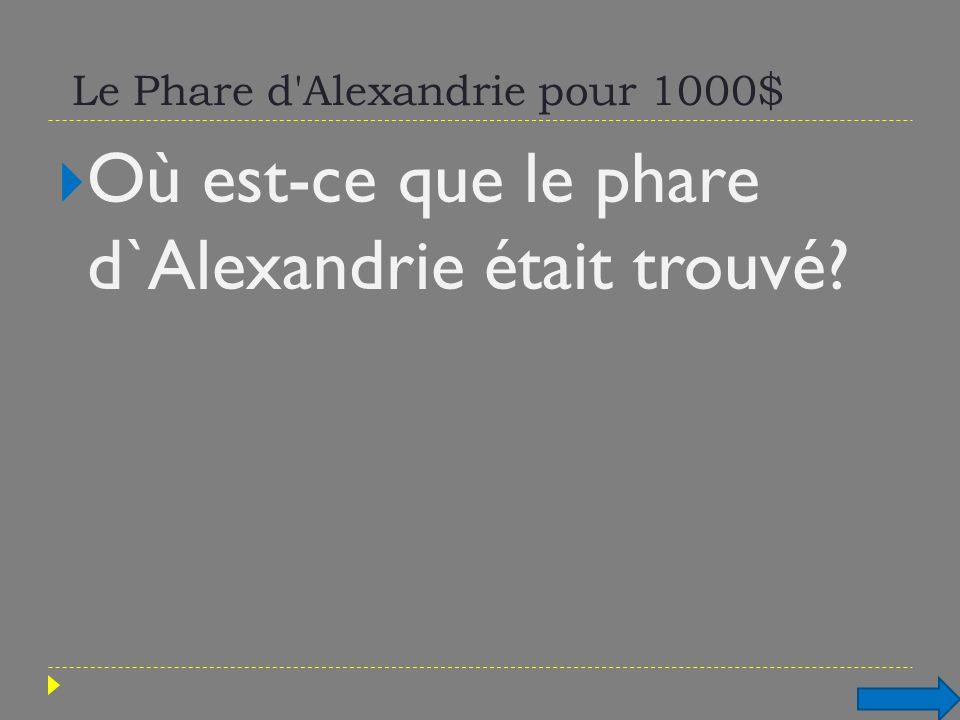 Le Phare d'Alexandrie pour 1000$ Où est-ce que le phare d`Alexandrie était trouvé?