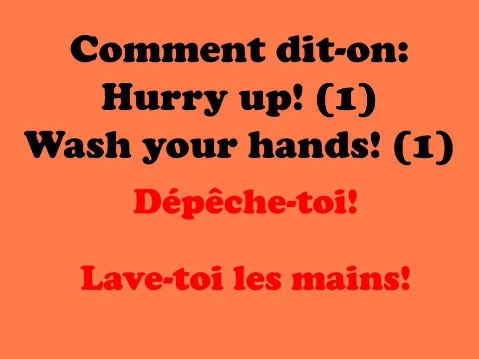 Comment dit-on: Hurry up! (1) Wash your hands! (1) Dépêche-toi! Lave-toi les mains!
