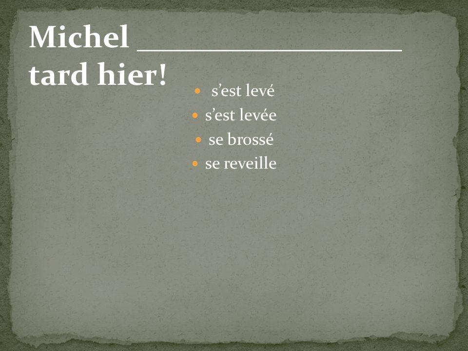 sest levé sest levée se brossé se reveille Michel _________________ tard hier!