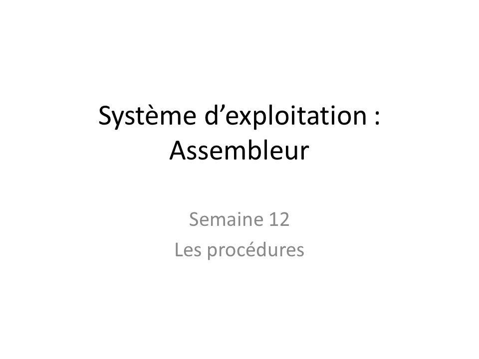 Système dexploitation : Assembleur Semaine 12 Les procédures