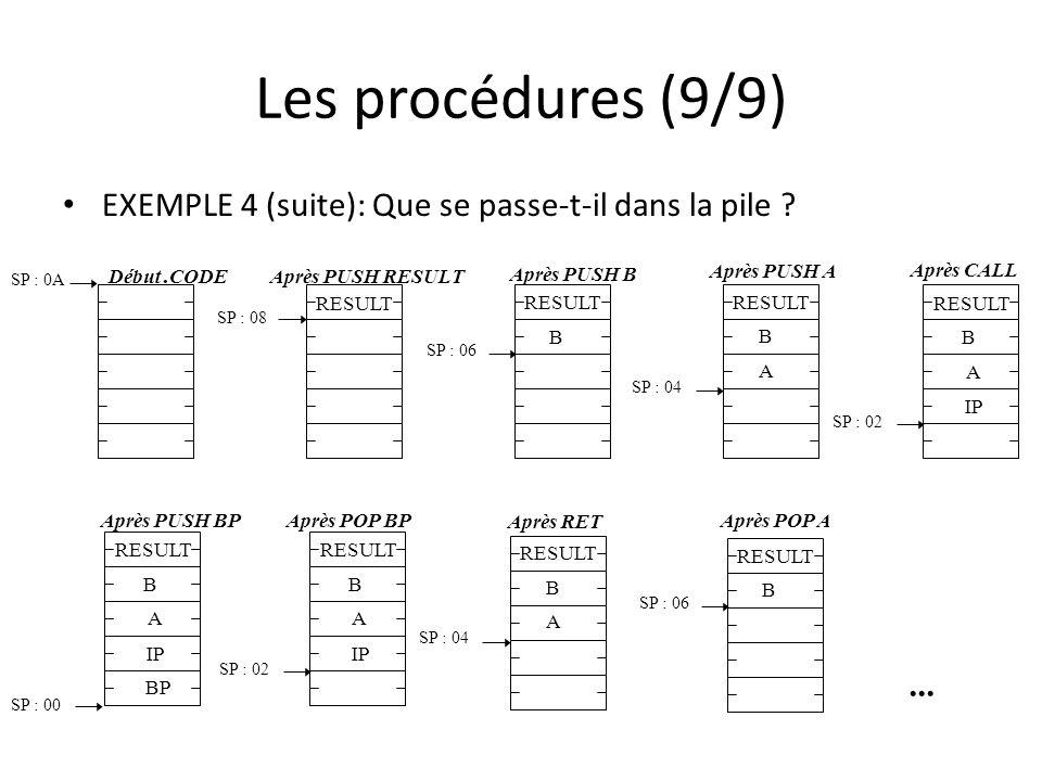 Les procédures (9/9) EXEMPLE 4 (suite): Que se passe-t-il dans la pile .