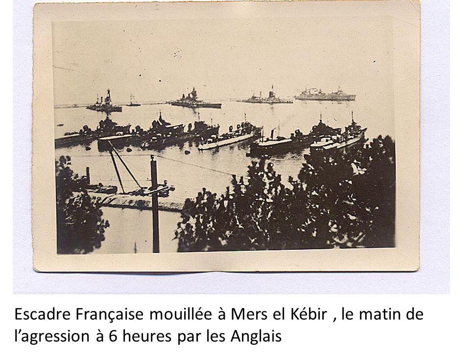 Escadre Française mouillée à Mers el Kébir, le matin de lagression à 6 heures par les Anglais