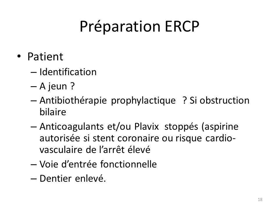 Préparation ERCP Patient – Identification – A jeun ? – Antibiothérapie prophylactique ? Si obstruction bilaire – Anticoagulants et/ou Plavix stoppés (