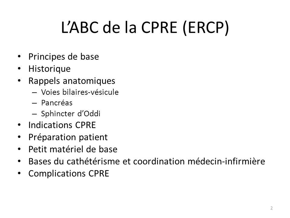 LABC de la CPRE (ERCP) Principes de base Historique Rappels anatomiques – Voies bilaires-vésicule – Pancréas – Sphincter dOddi Indications CPRE Prépar
