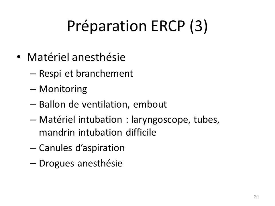 Préparation ERCP (3) Matériel anesthésie – Respi et branchement – Monitoring – Ballon de ventilation, embout – Matériel intubation : laryngoscope, tub