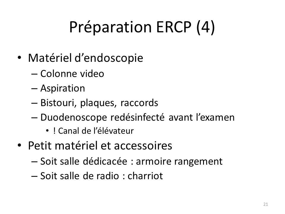 Préparation ERCP (4) Matériel dendoscopie – Colonne video – Aspiration – Bistouri, plaques, raccords – Duodenoscope redésinfecté avant lexamen ! Canal