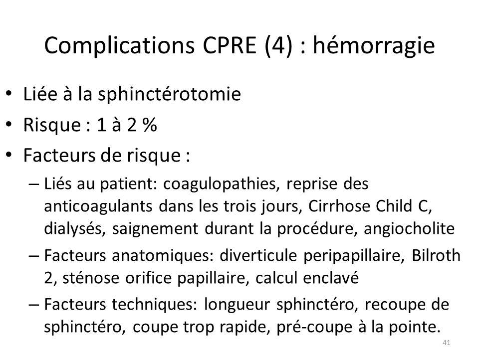 Complications CPRE (4) : hémorragie Liée à la sphinctérotomie Risque : 1 à 2 % Facteurs de risque : – Liés au patient: coagulopathies, reprise des ant