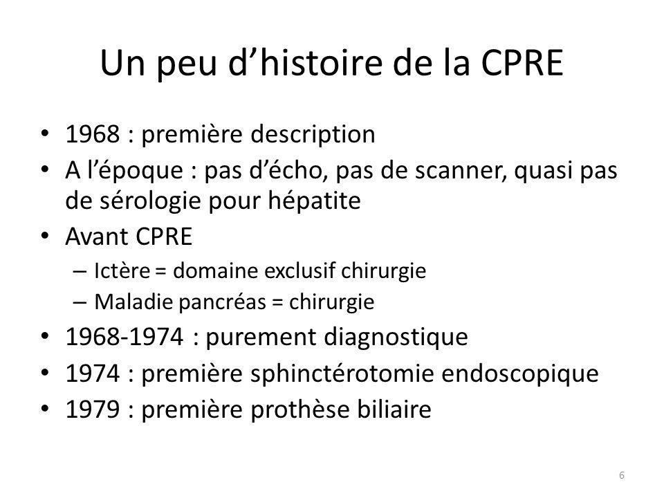 Un peu dhistoire de la CPRE 1968 : première description A lépoque : pas décho, pas de scanner, quasi pas de sérologie pour hépatite Avant CPRE – Ictèr