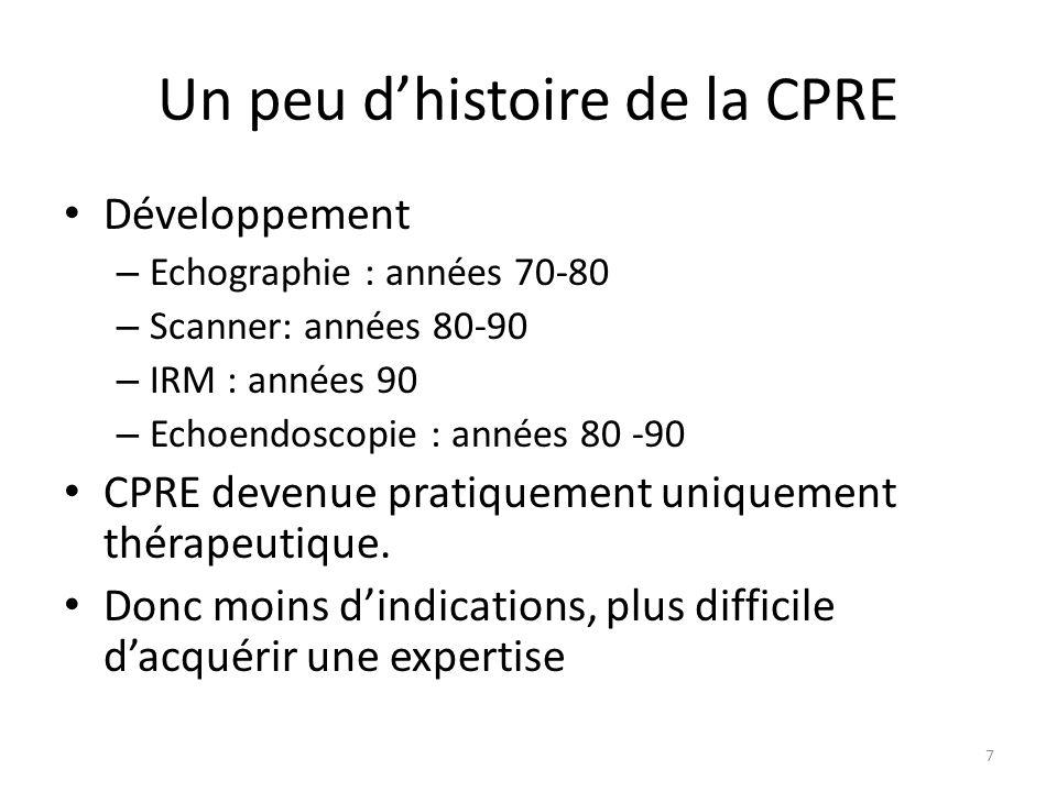 Un peu dhistoire de la CPRE Développement – Echographie : années 70-80 – Scanner: années 80-90 – IRM : années 90 – Echoendoscopie : années 80 -90 CPRE