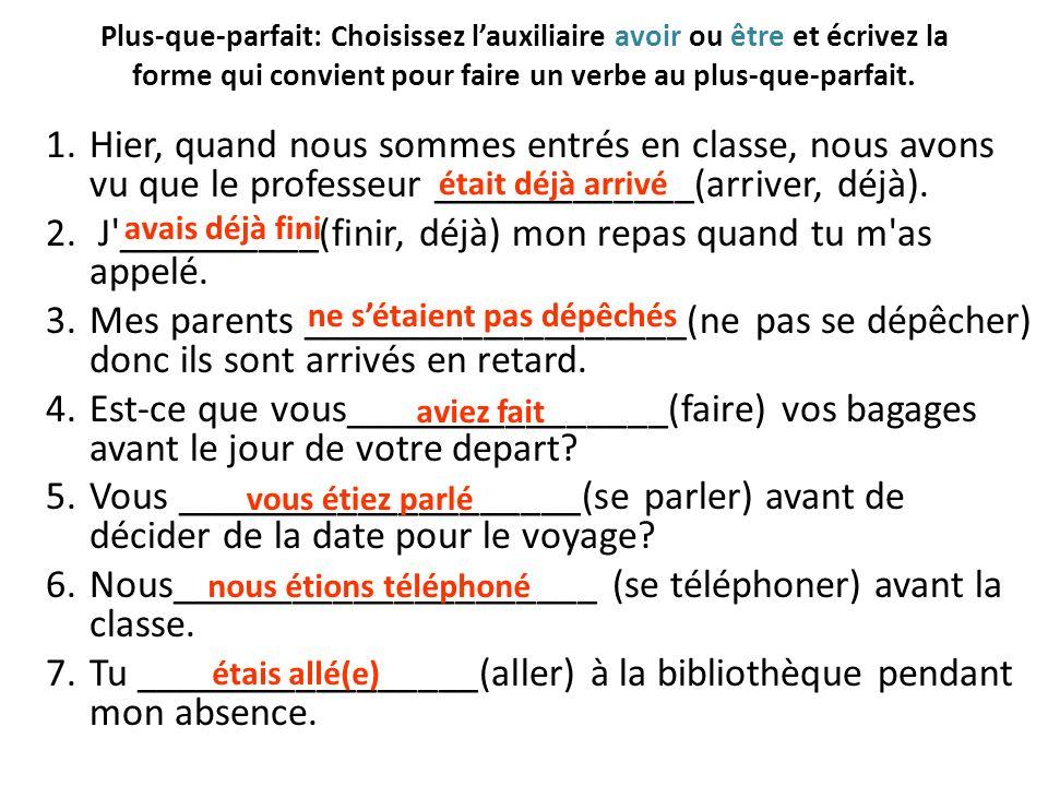 Une famille désastreuse: A) Trouvez un partenaire B) Imaginez des phrases possibles à ces scenarios en utilisant le vocab du chapitre et en utilisant le plus-que-parfait.