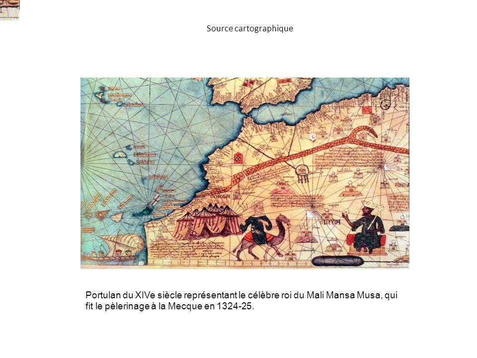 Portulan du XIVe siècle représentant le célèbre roi du Mali Mansa Musa, qui fit le pèlerinage à la Mecque en 1324-25.