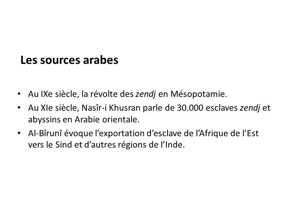 Les sources arabes Au IXe siècle, la révolte des zendj en Mésopotamie.
