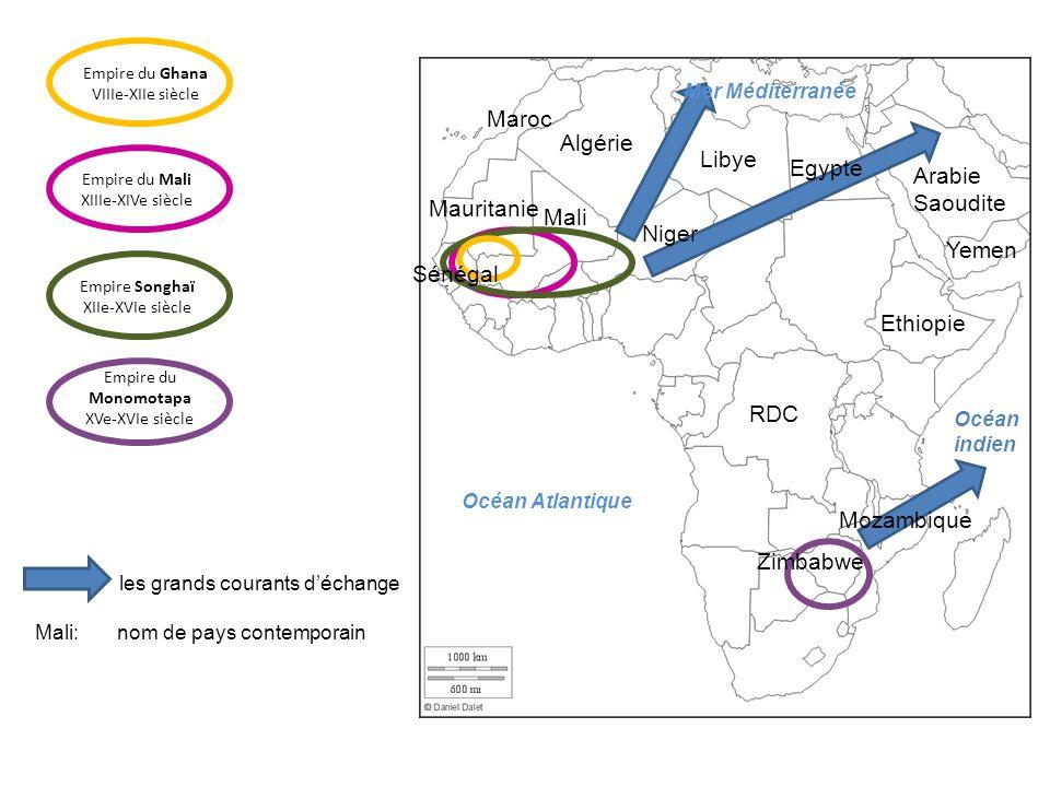 Les grands axes à travers le Sahara et les produits échangés