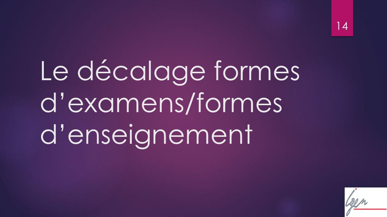 14 Le décalage formes dexamens/formes denseignement