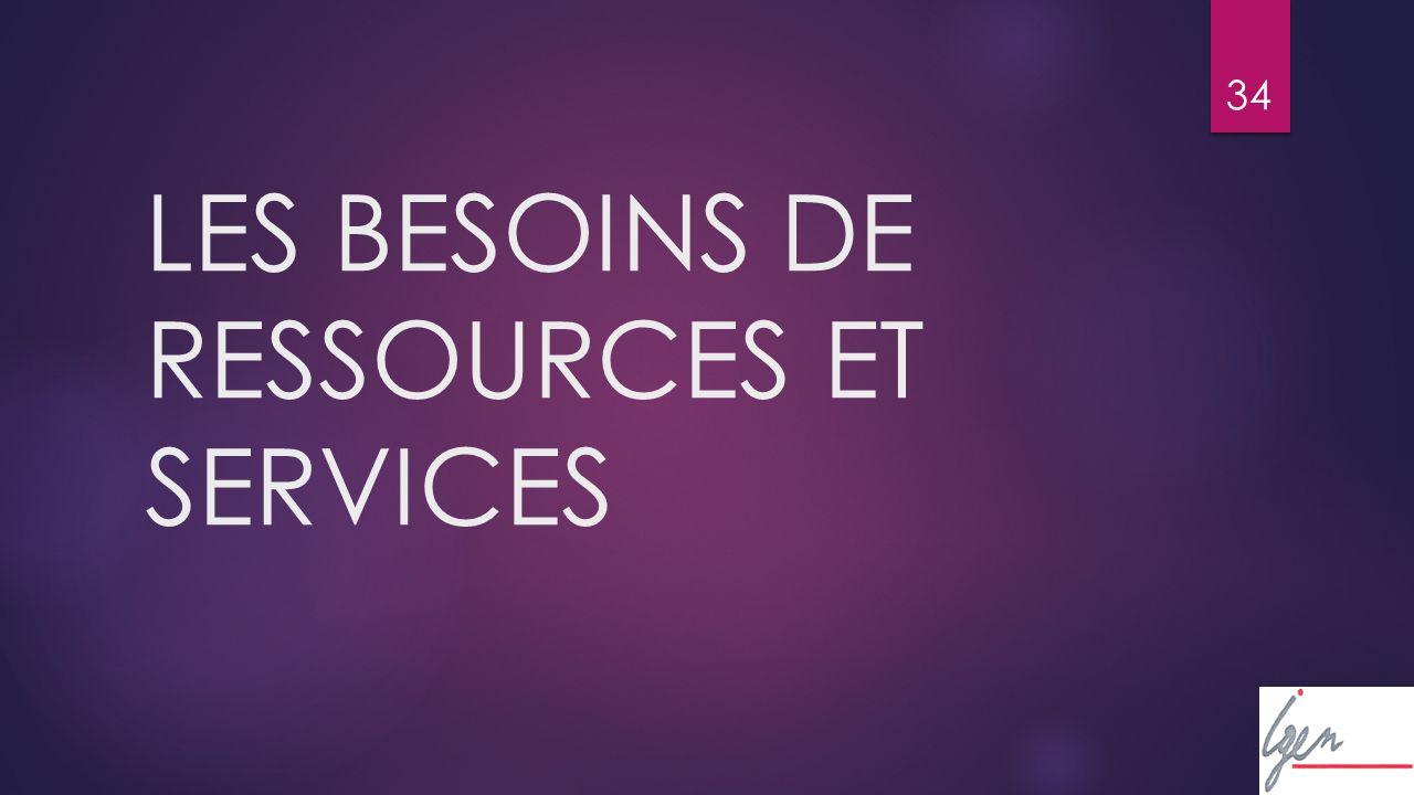 34 LES BESOINS DE RESSOURCES ET SERVICES