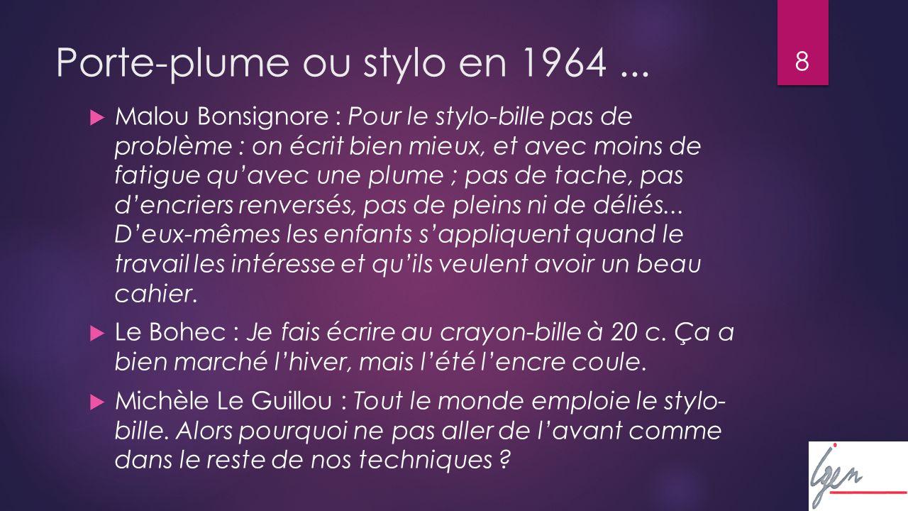 8 Porte-plume ou stylo en 1964...