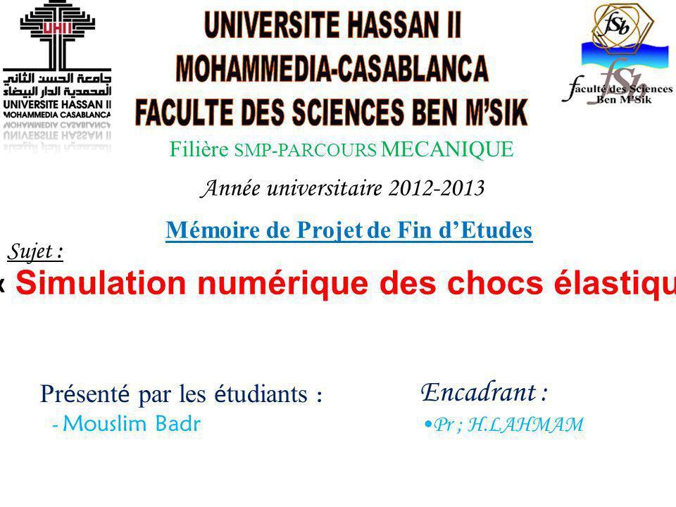 Année universitaire 2012-2013 Mémoire de Projet de Fin dEtudes Sujet : « Simulation numérique des chocs élastiques » Pr é sent é par les é tudiants :