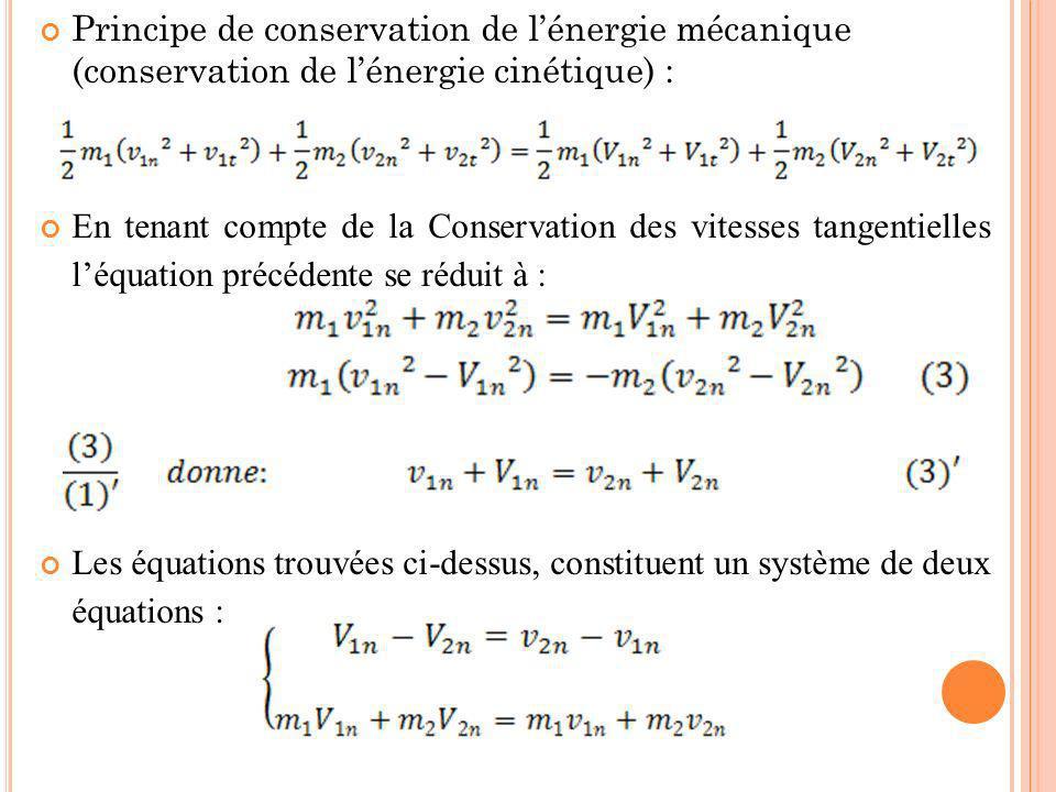 Principe de conservation de lénergie mécanique (conservation de lénergie cinétique) : En tenant compte de la Conservation des vitesses tangentielles l