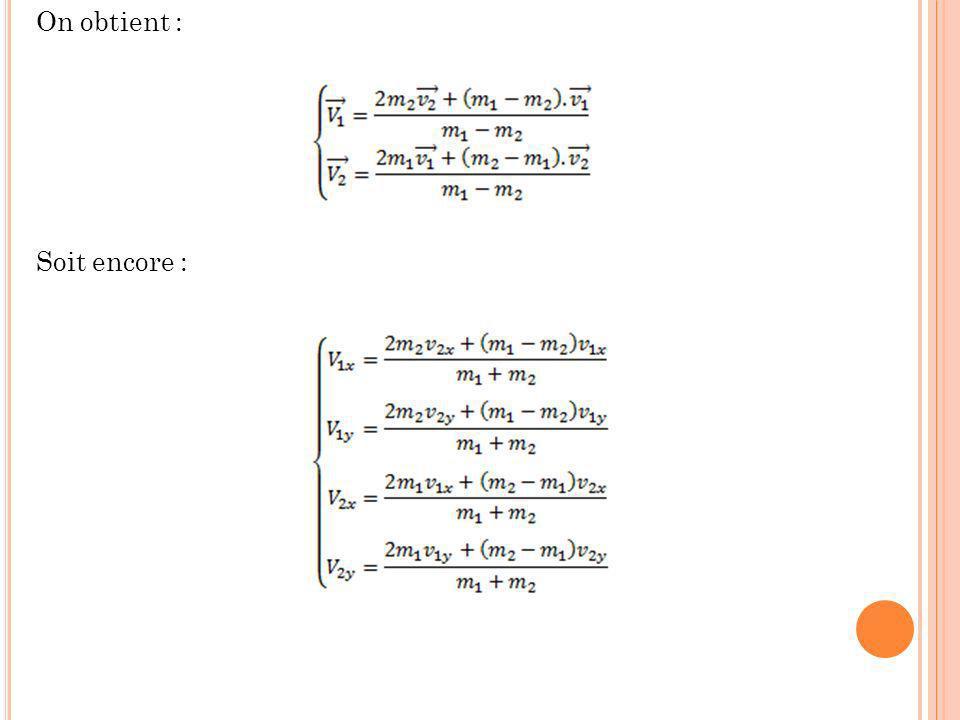 Deuxième cas : Dans ce cas on a une solution unique : Une fois t c trouvé on peut alors déterminer les abscisses et les ordonnées des deux centres dinertie G 1 et G 2 a linstant du choc par les relation suivantes : Vecteur directeur de la normale au plan du choc