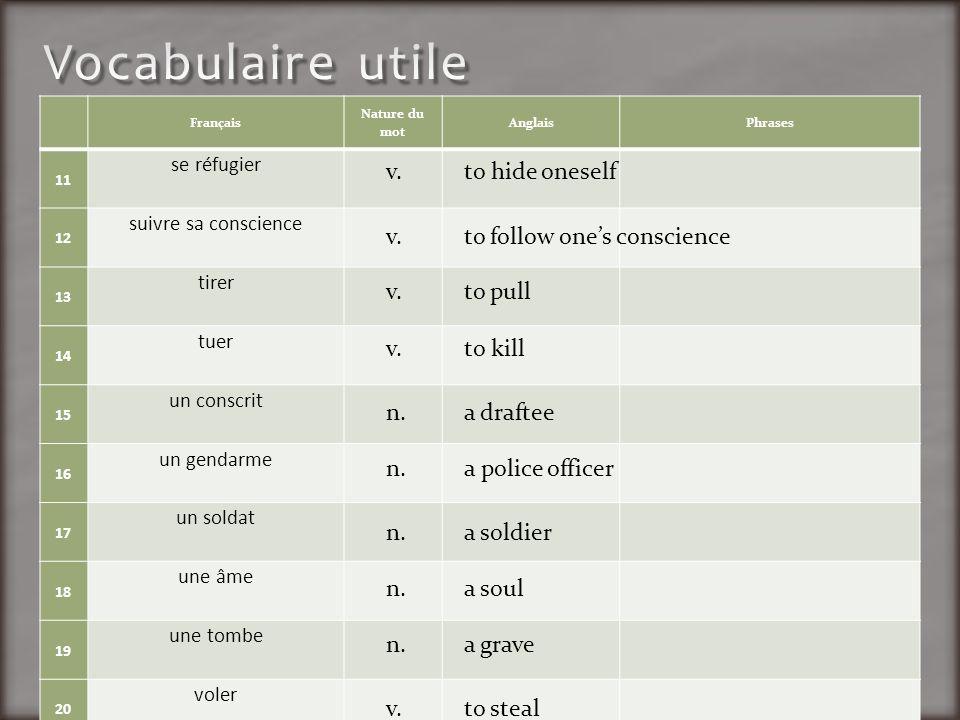 Français Nature du mot AnglaisPhrases 11 se réfugier 12 suivre sa conscience 13 tirer 14 tuer 15 un conscrit 16 un gendarme 17 un soldat 18 une âme 19