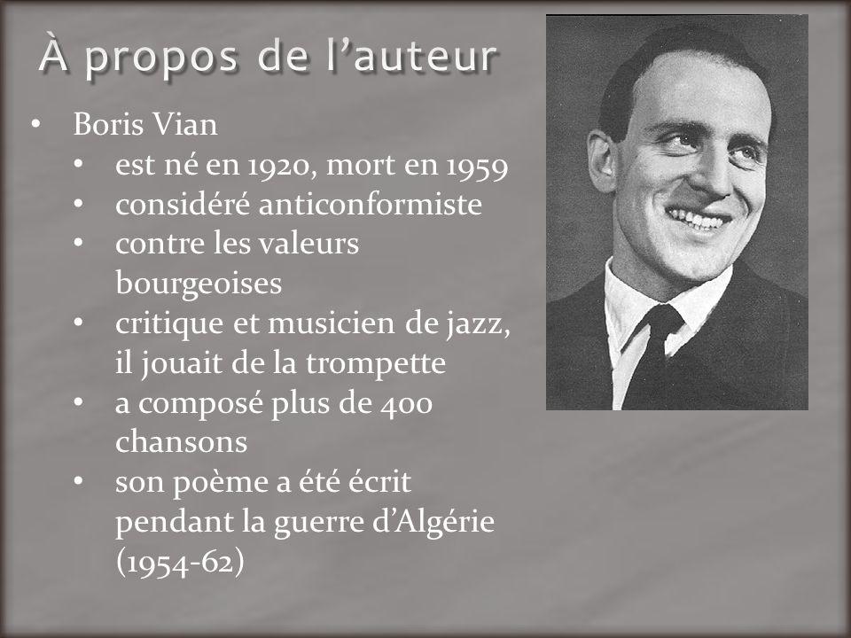 Boris Vian est né en 1920, mort en 1959 considéré anticonformiste contre les valeurs bourgeoises critique et musicien de jazz, il jouait de la trompet