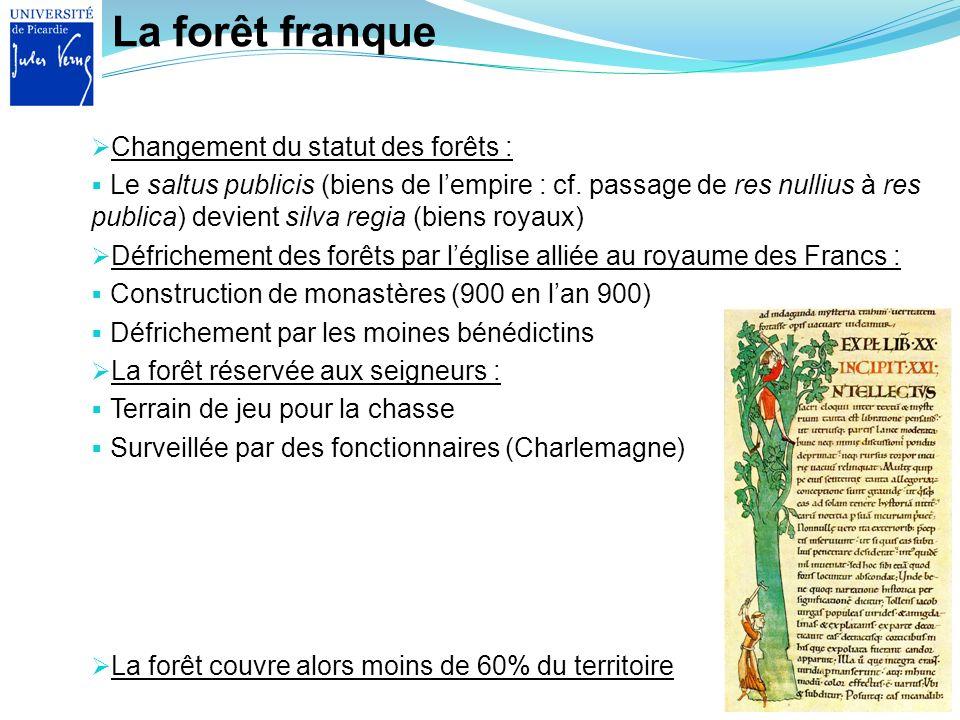 La forêt franque Changement du statut des forêts : Le saltus publicis (biens de lempire : cf. passage de res nullius à res publica) devient silva regi