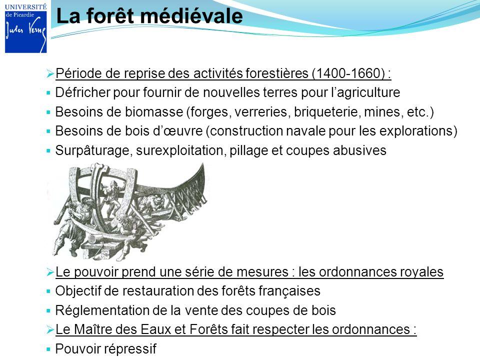 La forêt médiévale Le pouvoir prend une série de mesures : les ordonnances royales Objectif de restauration des forêts françaises Réglementation de la