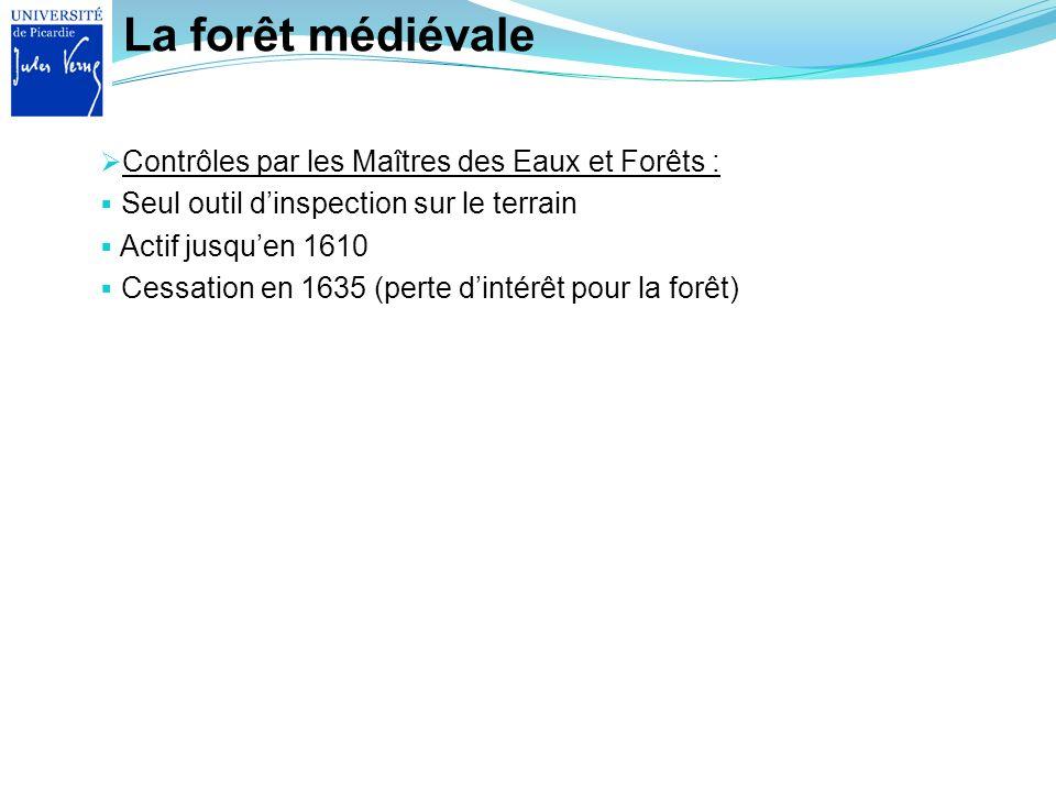 La forêt médiévale Contrôles par les Maîtres des Eaux et Forêts : Seul outil dinspection sur le terrain Actif jusquen 1610 Cessation en 1635 (perte di