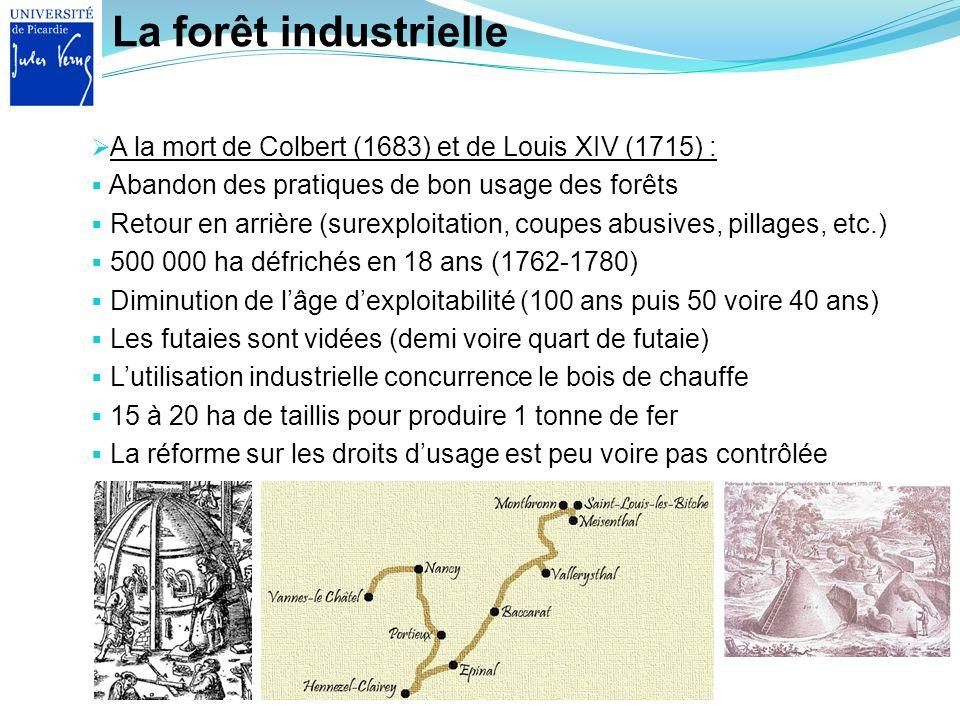 La forêt industrielle A la mort de Colbert (1683) et de Louis XIV (1715) : Abandon des pratiques de bon usage des forêts Retour en arrière (surexploit