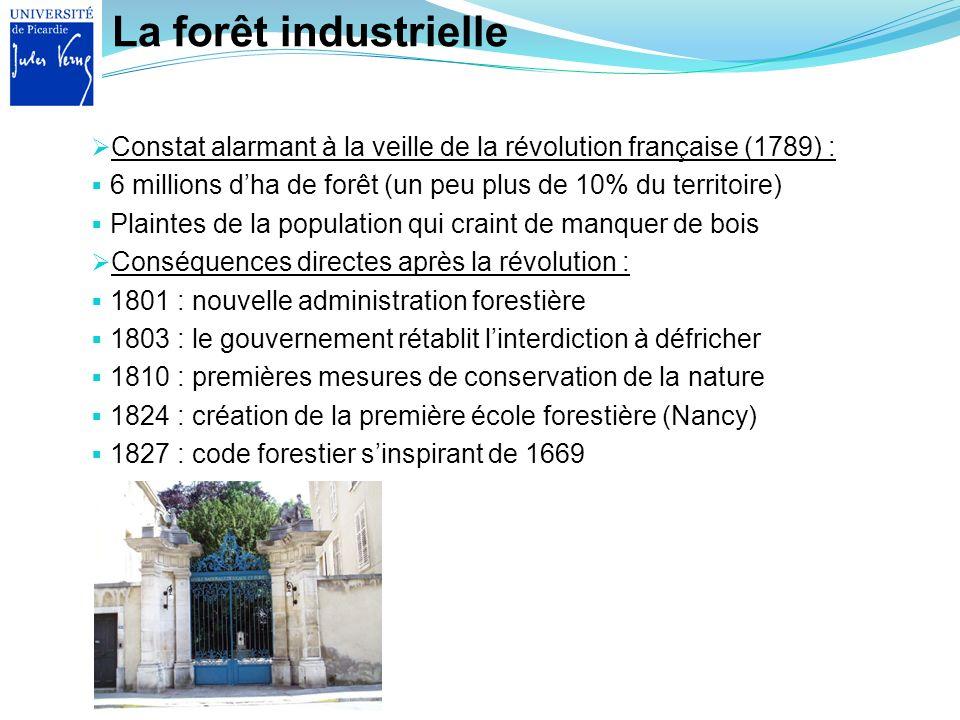 La forêt industrielle Constat alarmant à la veille de la révolution française (1789) : 6 millions dha de forêt (un peu plus de 10% du territoire) Plai